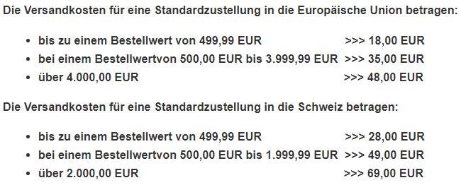 Tabelle-Versandkosten